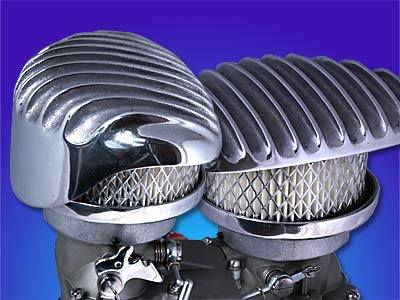 """""""Wedge"""" Polished Finned Aluminum Air Cleaner"""